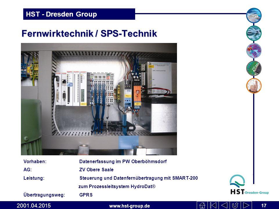 www.hst-group.de HST - Dresden Group Fernwirktechnik / SPS-Technik 17 2001.04.2015 Vorhaben:Datenerfassung im PW Oberböhmsdorf AG:ZV Obere Saale Leist