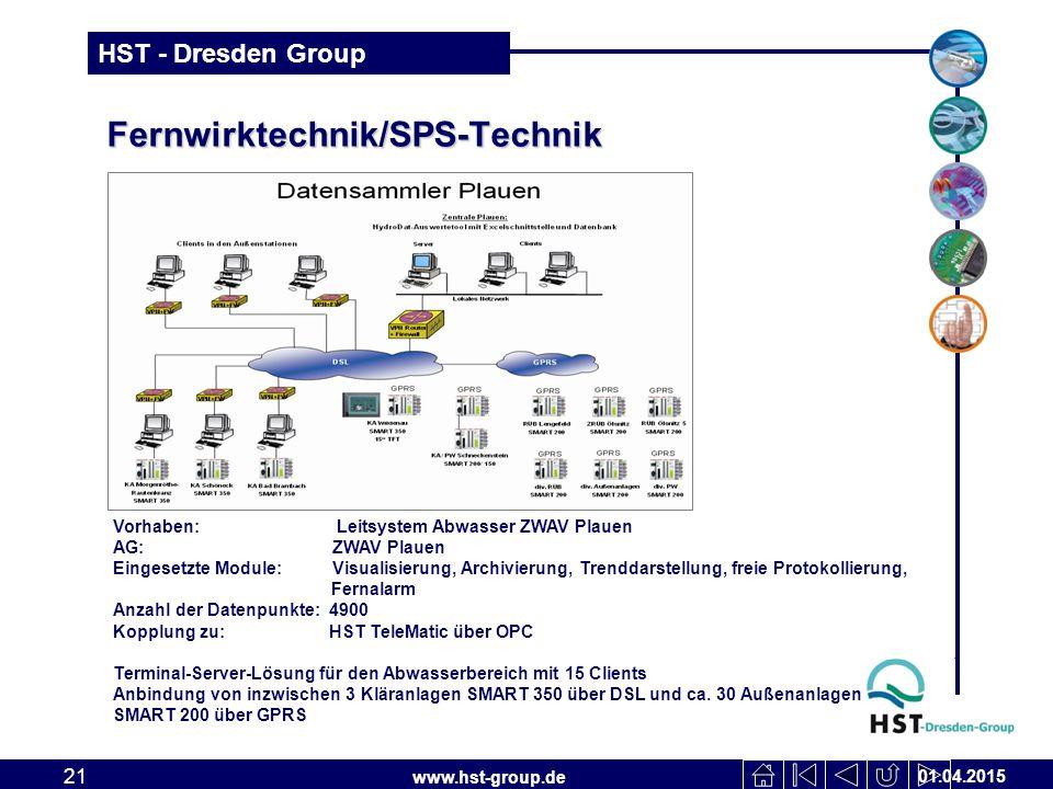 www.hst-group.de HST - Dresden Group Fernwirktechnik/SPS-Technik 01.04.2015 21 Vorhaben: Leitsystem Abwasser ZWAV Plauen AG: ZWAV Plauen Eingesetzte Module: Visualisierung, Archivierung, Trenddarstellung, freie Protokollierung, Fernalarm Anzahl der Datenpunkte: 4900 Kopplung zu: HST TeleMatic über OPC Terminal-Server-Lösung für den Abwasserbereich mit 15 Clients Anbindung von inzwischen 3 Kläranlagen SMART 350 über DSL und ca.