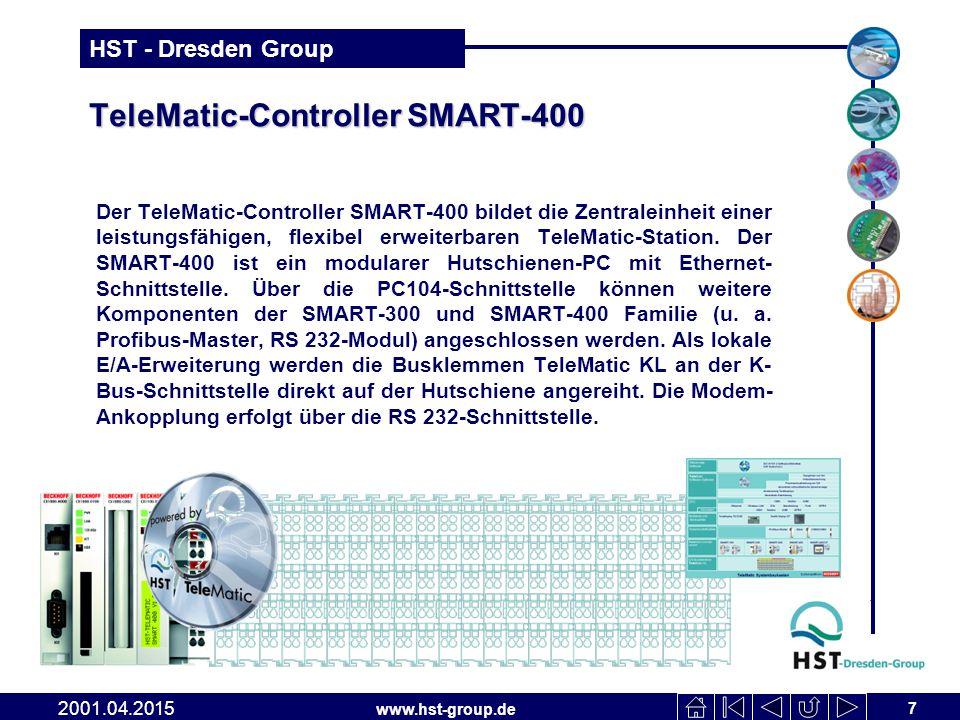 www.hst-group.de HST - Dresden Group TeleMatic-Controller SMART-400 Der TeleMatic-Controller SMART-400 bildet die Zentraleinheit einer leistungsfähigen, flexibel erweiterbaren TeleMatic-Station.