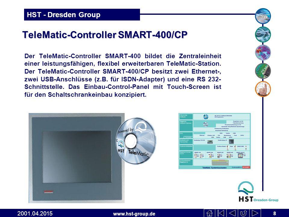 www.hst-group.de HST - Dresden Group TeleMatic-Controller SMART-400/CP Der TeleMatic-Controller SMART-400 bildet die Zentraleinheit einer leistungsfähigen, flexibel erweiterbaren TeleMatic-Station.