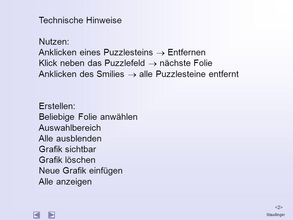 Staudinger Wer bin ich? Technische Hinweise Nutzen: Anklicken eines Puzzlesteins  Entfernen Klick neben das Puzzlefeld  nächste Folie Anklicken des