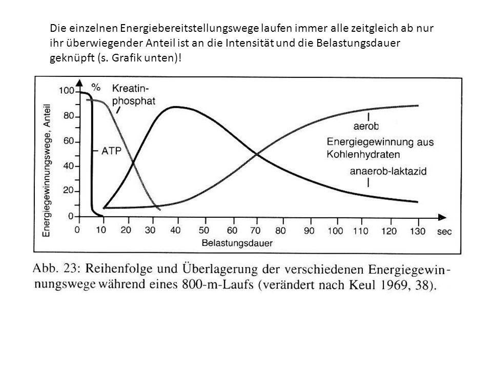 Die einzelnen Energiebereitstellungswege laufen immer alle zeitgleich ab nur ihr überwiegender Anteil ist an die Intensität und die Belastungsdauer ge