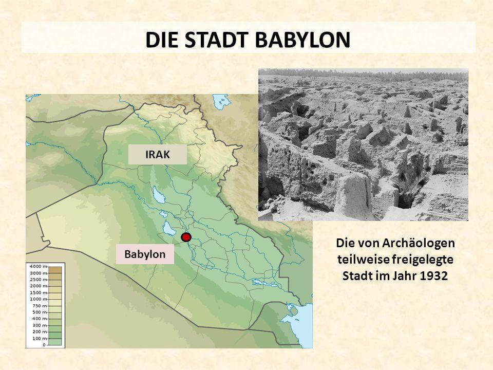 DIE STADT BABYLON Babylon IRAK Die von Archäologen teilweise freigelegte Stadt im Jahr 1932