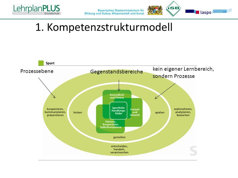 ^ 1. Kompetenzstrukturmodell Gegenstandsbereiche kein eigener Lernbereich, sondern Prozesse Prozessebene
