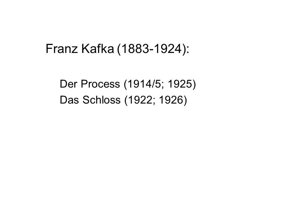 Franz Kafka (1883-1924): Der Process (1914/5; 1925) Das Schloss (1922; 1926)