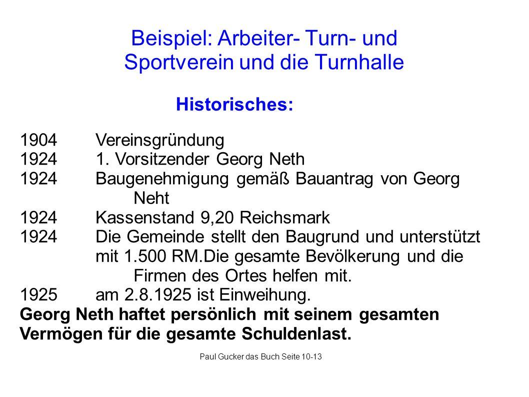 Beispiel: Arbeiter- Turn- und Sportverein und die Turnhalle Historisches: 1904 Vereinsgründung 1924 1. Vorsitzender Georg Neth 1924 Baugenehmigung gem