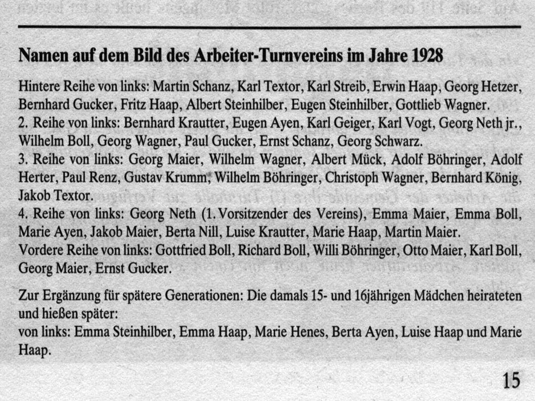 Beispiel: Arbeiter- Turn- und Sportverein und die Turnhalle Historisches: 1929 Bei der Mitgliederehrung waren von der 23 Mitgliedern 3 KPD Mitglieder.