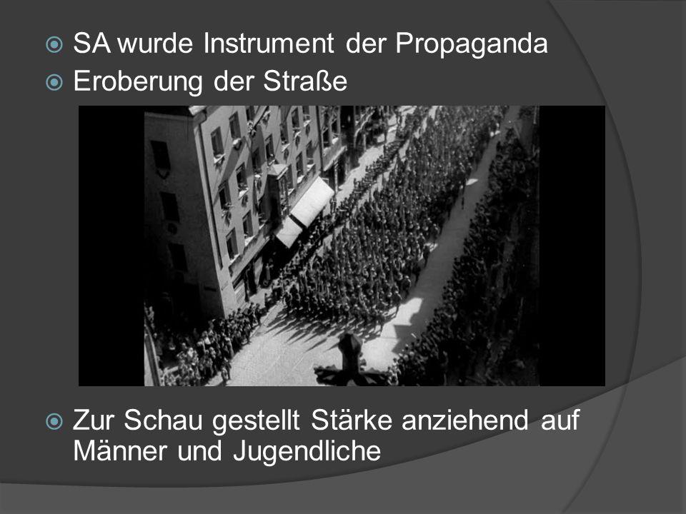  SA wurde Instrument der Propaganda  Eroberung der Straße  Zur Schau gestellt Stärke anziehend auf Männer und Jugendliche