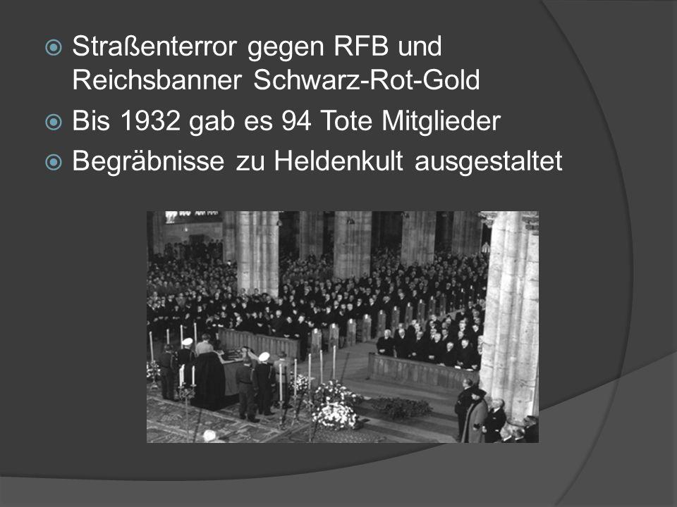  Straßenterror gegen RFB und Reichsbanner Schwarz-Rot-Gold  Bis 1932 gab es 94 Tote Mitglieder  Begräbnisse zu Heldenkult ausgestaltet
