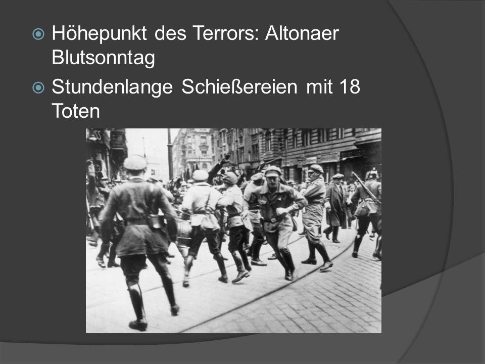  Höhepunkt des Terrors: Altonaer Blutsonntag  Stundenlange Schießereien mit 18 Toten
