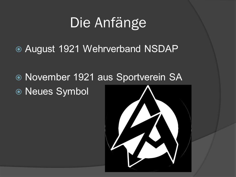 Die Anfänge  August 1921 Wehrverband NSDAP  November 1921 aus Sportverein SA  Neues Symbol
