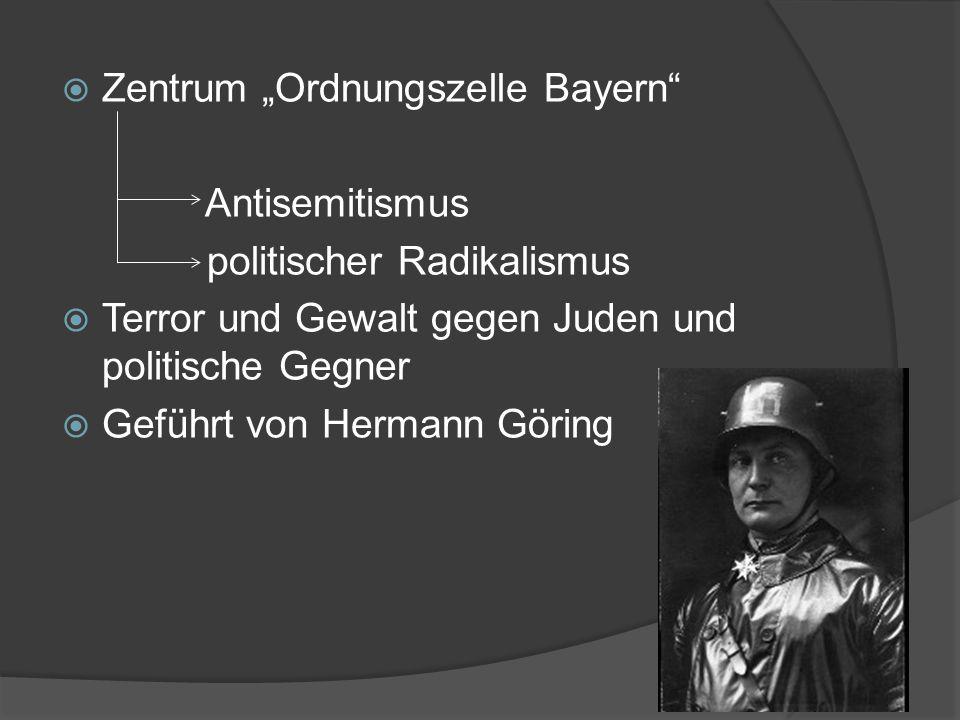 """ Zentrum """"Ordnungszelle Bayern Antisemitismus politischer Radikalismus  Terror und Gewalt gegen Juden und politische Gegner  Geführt von Hermann Göring"""