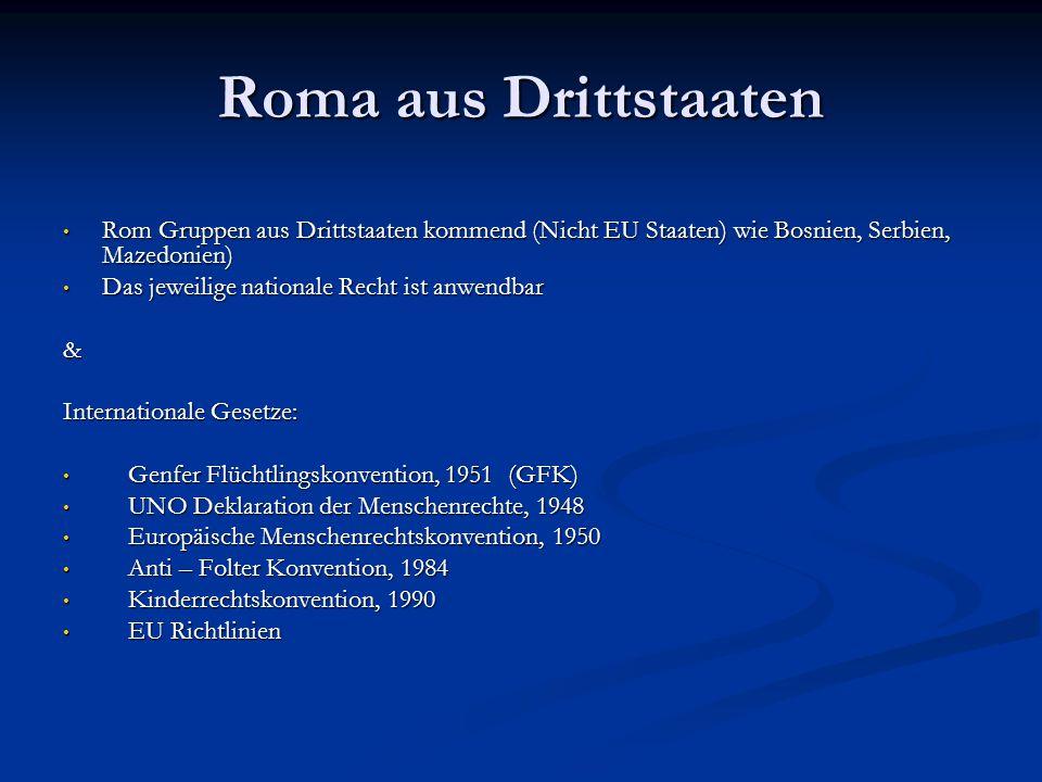 Roma aus Drittstaaten Rom Gruppen aus Drittstaaten kommend (Nicht EU Staaten) wie Bosnien, Serbien, Mazedonien) Rom Gruppen aus Drittstaaten kommend (