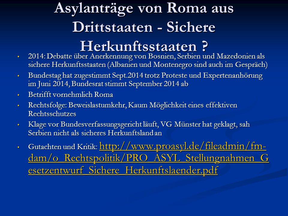Asylanträge von Roma aus Drittstaaten - Sichere Herkunftsstaaten ? 2014: Debatte über Anerkennung von Bosnien, Serbien und Mazedonien als sichere Herk
