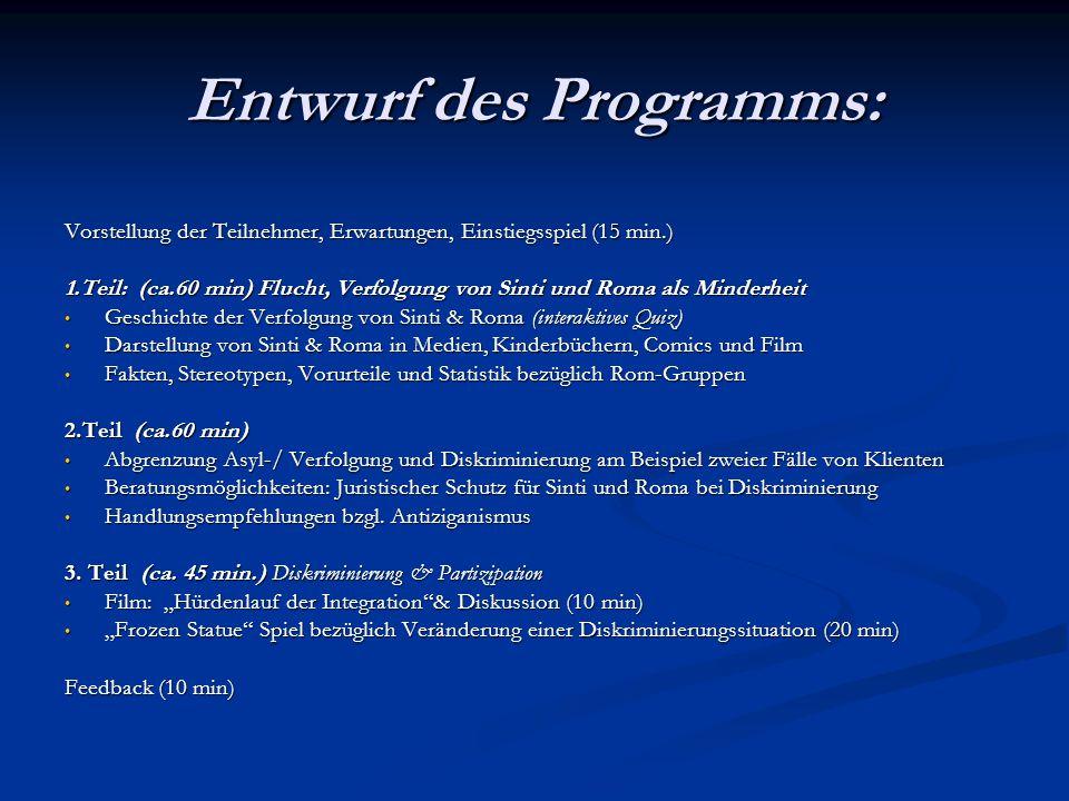 Entwurf des Programms: Vorstellung der Teilnehmer, Erwartungen, Einstiegsspiel (15 min.) 1.Teil: (ca.60 min) Flucht, Verfolgung von Sinti und Roma als