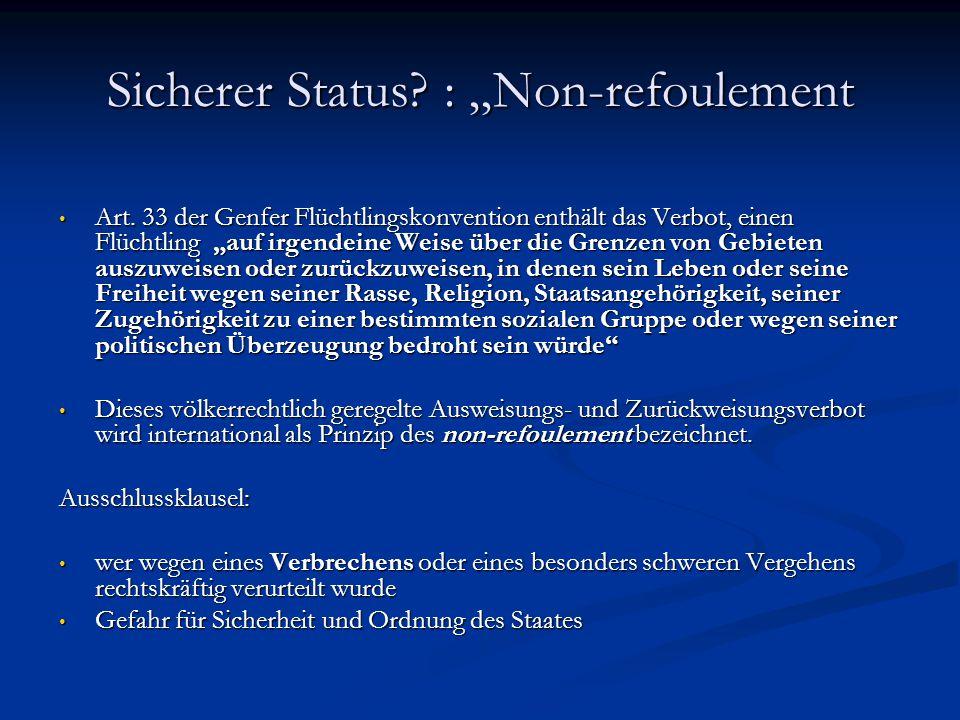 """Sicherer Status? : """"Non-refoulement Art. 33 der Genfer Flüchtlingskonvention enthält das Verbot, einen Flüchtling """"auf irgendeine Weise über die Grenz"""