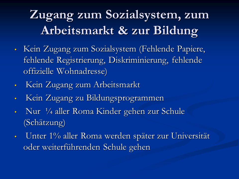 Zugang zum Sozialsystem, zum Arbeitsmarkt & zur Bildung Kein Zugang zum Sozialsystem (Fehlende Papiere, fehlende Registrierung, Diskriminierung, fehle