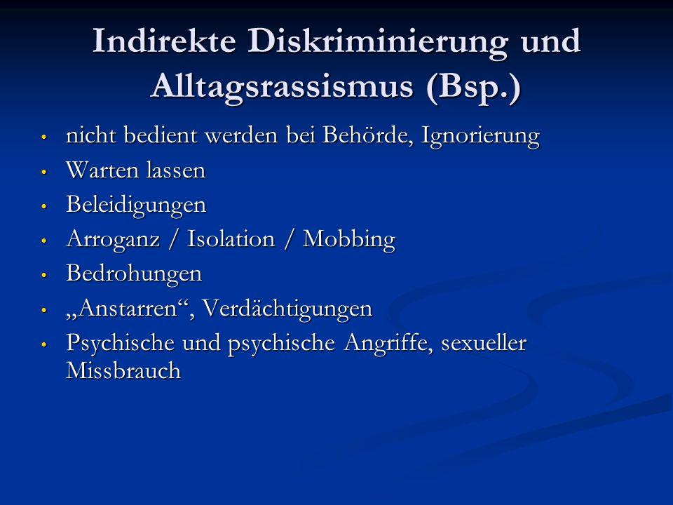 Indirekte Diskriminierung und Alltagsrassismus (Bsp.) nicht bedient werden bei Behörde, Ignorierung nicht bedient werden bei Behörde, Ignorierung Wart