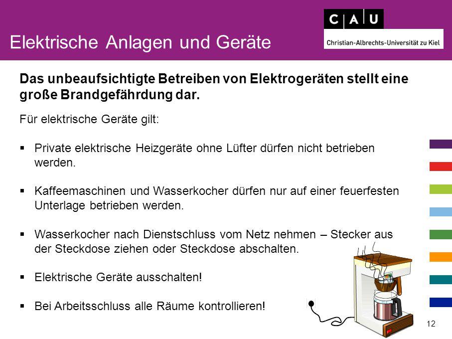 Elektrische Anlagen und Geräte 12 Für elektrische Geräte gilt:  Private elektrische Heizgeräte ohne Lüfter dürfen nicht betrieben werden.  Kaffeemas
