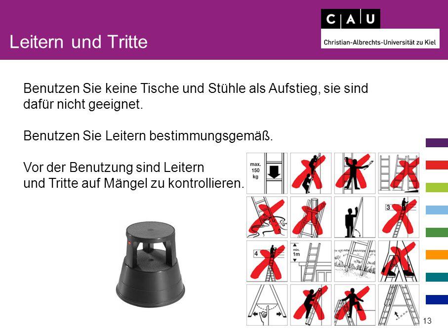 Leitern und Tritte 13 Benutzen Sie keine Tische und Stühle als Aufstieg, sie sind dafür nicht geeignet. Benutzen Sie Leitern bestimmungsgemäß. Vor der