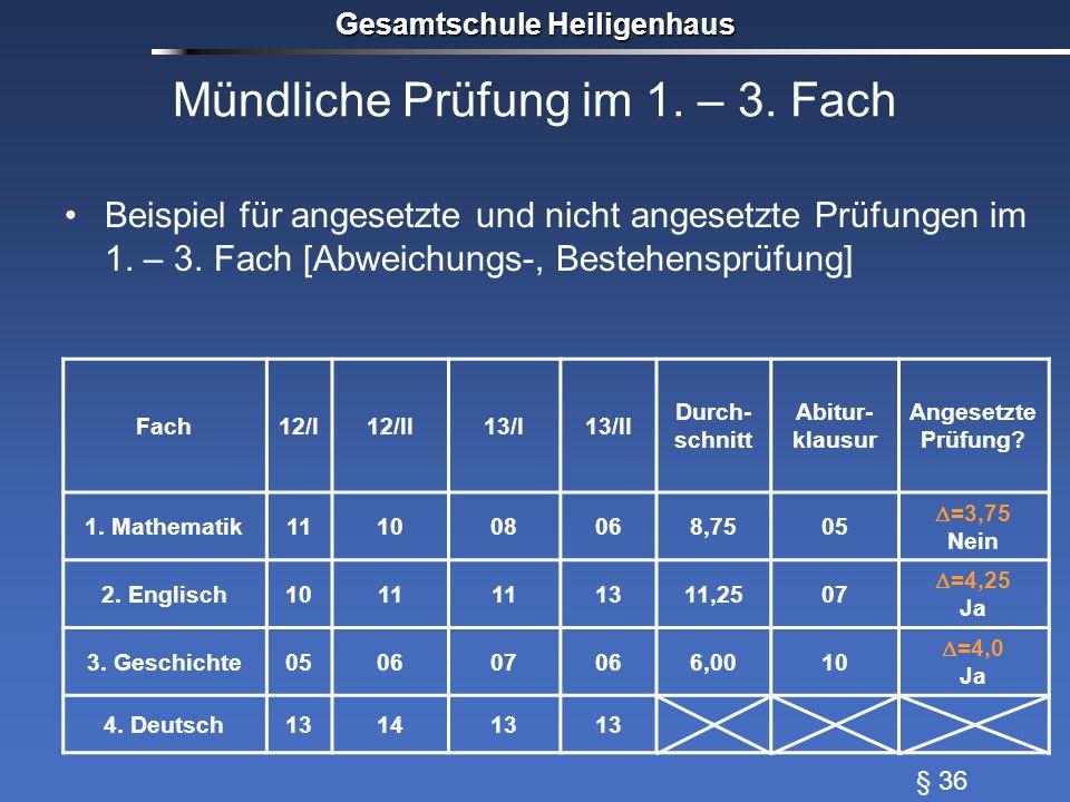 Mündliche Prüfung im 1. – 3. Fach Beispiel für angesetzte und nicht angesetzte Prüfungen im 1. – 3. Fach [Abweichungs-, Bestehensprüfung] Gesamtschule
