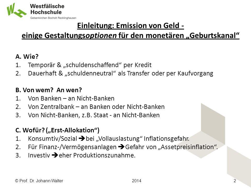 """Einleitung: Emission von Geld - einige Gestaltungsoptionen für den monetären """"Geburtskanal A."""