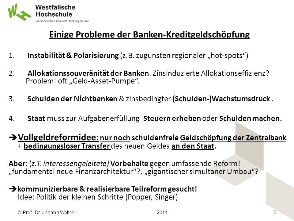 © Prof. Dr. Johann Walter20143 Einige Probleme der Banken-Kreditgeldschöpfung 1.