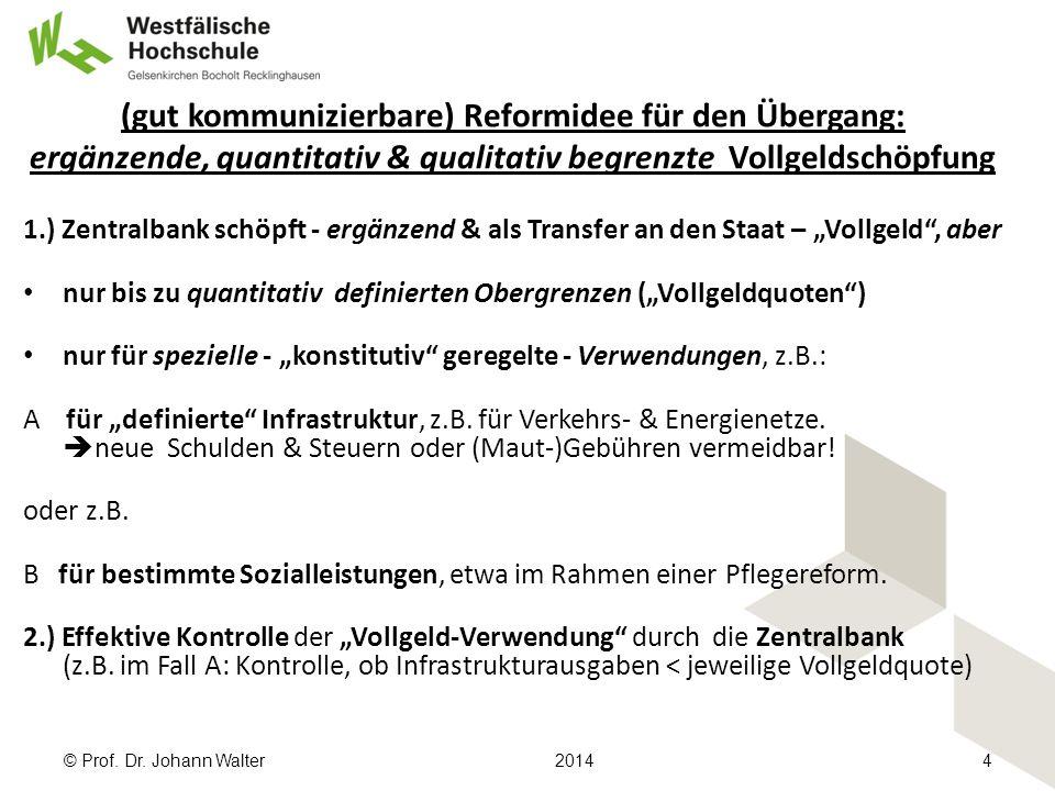 """(gut kommunizierbare) Reformidee für den Übergang: ergänzende, quantitativ & qualitativ begrenzte Vollgeldschöpfung 1.) Zentralbank schöpft - ergänzend & als Transfer an den Staat – """"Vollgeld , aber nur bis zu quantitativ definierten Obergrenzen (""""Vollgeldquoten ) nur für spezielle - """"konstitutiv geregelte - Verwendungen, z.B.: A für """"definierte Infrastruktur, z.B."""