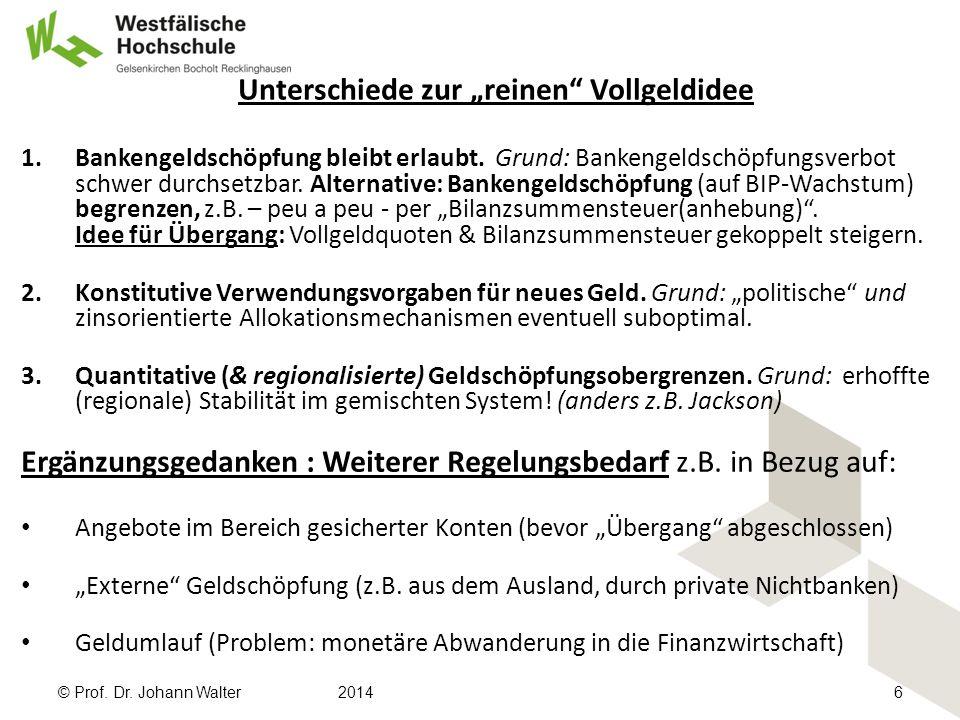 """Unterschiede zur """"reinen Vollgeldidee 1.Bankengeldschöpfung bleibt erlaubt."""
