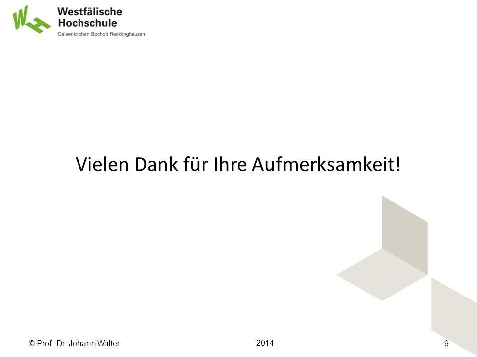 Vielen Dank für Ihre Aufmerksamkeit! © Prof. Dr. Johann Walter 2014 9