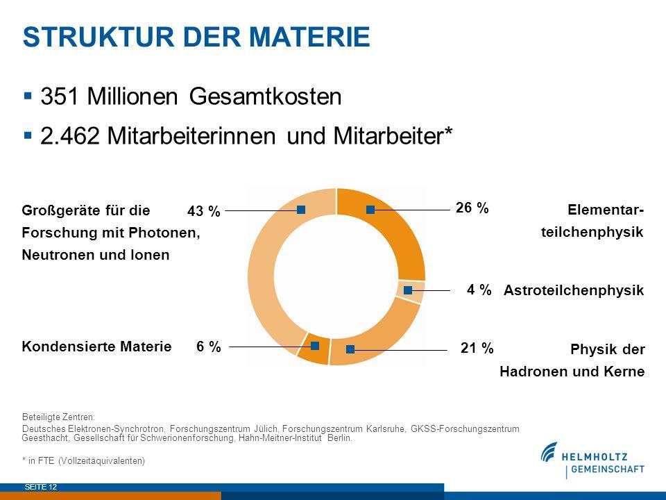 SEITE 12 STRUKTUR DER MATERIE  351 Millionen Gesamtkosten  2.462 Mitarbeiterinnen und Mitarbeiter* Beteiligte Zentren: Deutsches Elektronen-Synchrot