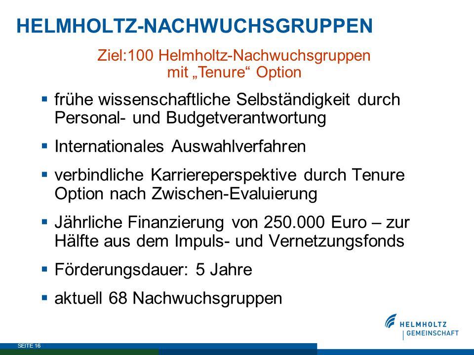 """SEITE 16 HELMHOLTZ-NACHWUCHSGRUPPEN Ziel:100 Helmholtz-Nachwuchsgruppen mit """"Tenure"""" Option  frühe wissenschaftliche Selbständigkeit durch Personal-"""