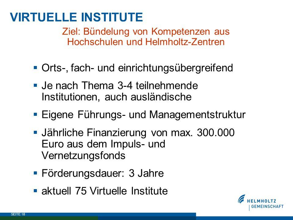 SEITE 18 VIRTUELLE INSTITUTE Ziel: Bündelung von Kompetenzen aus Hochschulen und Helmholtz-Zentren  Orts-, fach- und einrichtungsübergreifend  Je na