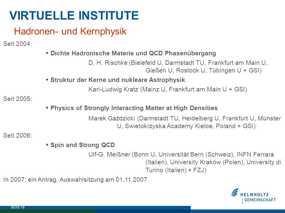 SEITE 19 VIRTUELLE INSTITUTE Hadronen- und Kernphysik Seit 2004:  Dichte Hadronische Materie und QCD Phasenübergang D. H. Rischke (Bielefeld U, Darms