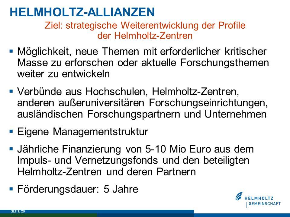 SEITE 20 HELMHOLTZ-ALLIANZEN Ziel: strategische Weiterentwicklung der Profile der Helmholtz-Zentren  Möglichkeit, neue Themen mit erforderlicher krit