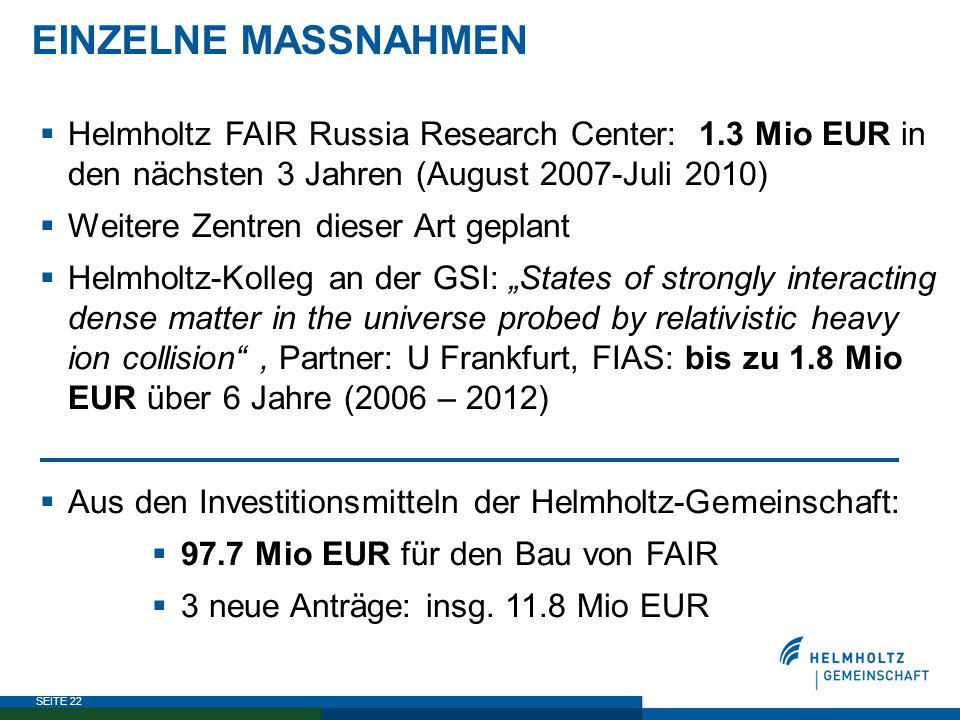 SEITE 22  Helmholtz FAIR Russia Research Center: 1.3 Mio EUR in den nächsten 3 Jahren (August 2007-Juli 2010)  Weitere Zentren dieser Art geplant 