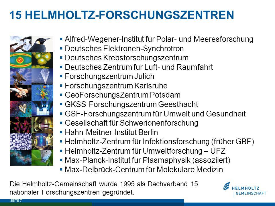 SEITE 7 15 HELMHOLTZ-FORSCHUNGSZENTREN  Alfred-Wegener-Institut für Polar- und Meeresforschung  Deutsches Elektronen-Synchrotron  Deutsches Krebsfo