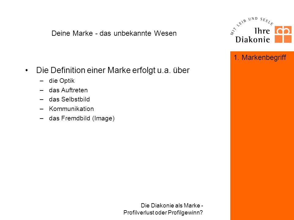 Die Diakonie als Marke - Profilverlust oder Profilgewinn? Deine Marke - das unbekannte Wesen Die Marke ist die Mischung jener Faktoren, die dazu führe