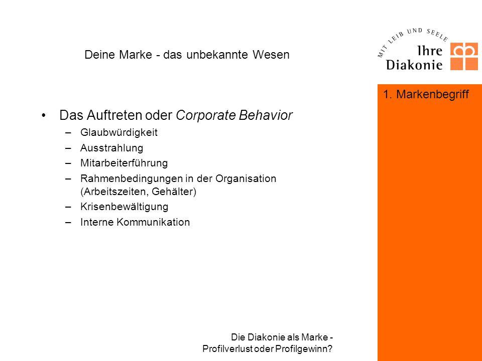 Die Diakonie als Marke - Profilverlust oder Profilgewinn? Deine Marke - das unbekannte Wesen Die Optik oder Corporate Design –das Logo –die Schrift –d