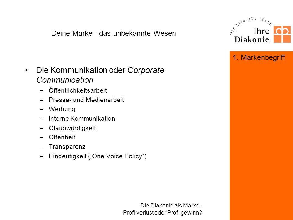 Die Diakonie als Marke - Profilverlust oder Profilgewinn? Deine Marke - das unbekannte Wesen Das Selbstbild oder Corporate Identity –Glaubwürdigkeit d