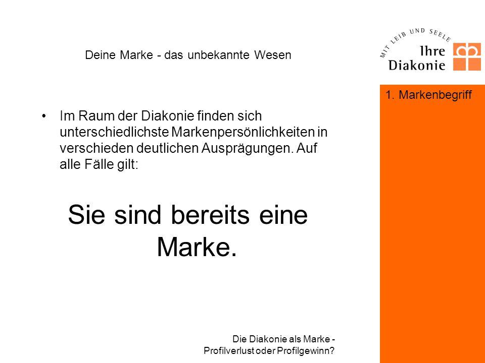 Die Diakonie als Marke - Profilverlust oder Profilgewinn? Deine Marke - das unbekannte Wesen Corporate Design + Corporate Behavoir + Corporate Communi