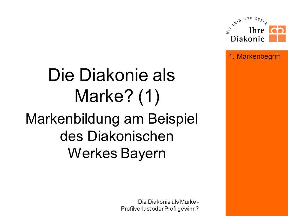 Die Diakonie als Marke - Profilverlust oder Profilgewinn? Deine Marke - das unbekannte Wesen Im Raum der Diakonie finden sich unterschiedlichste Marke