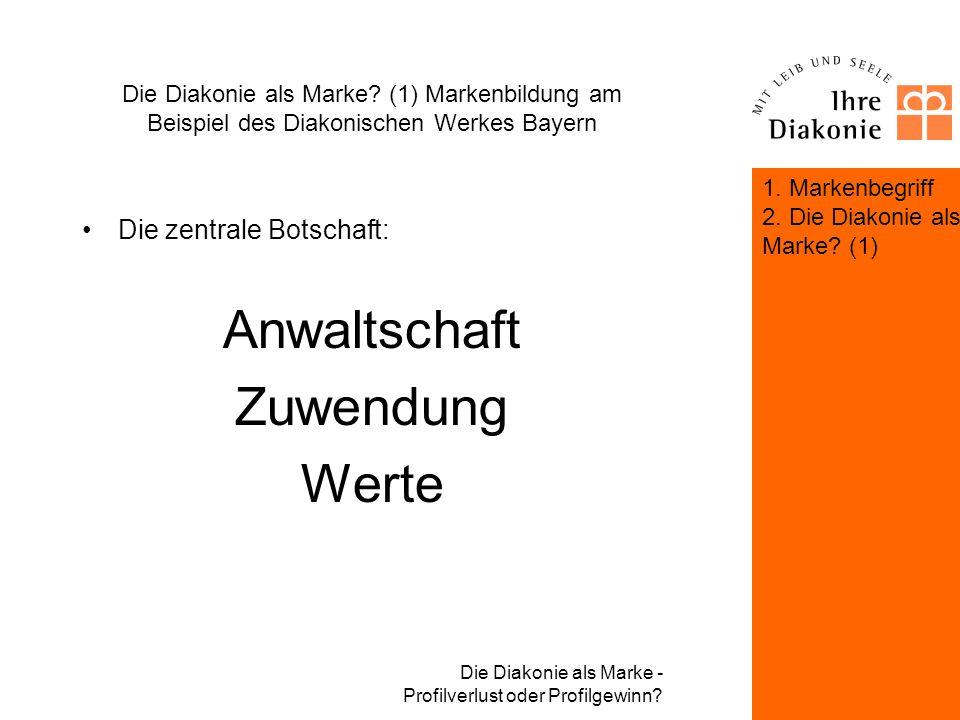 Die Diakonie als Marke - Profilverlust oder Profilgewinn? Die Diakonie als Marke? (1) Markenbildung am Beispiel des Diakonischen Werkes Bayern Die Kom