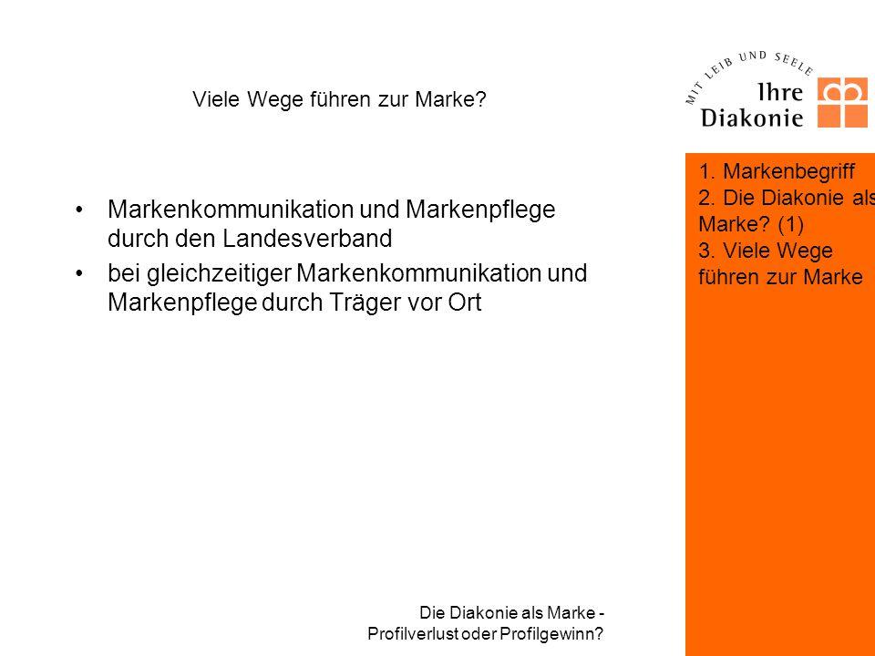 Die Diakonie als Marke - Profilverlust oder Profilgewinn? Viele Wege führen zur Marke? 1. Markenbegriff 2. Die Diakonie als Marke? (1)