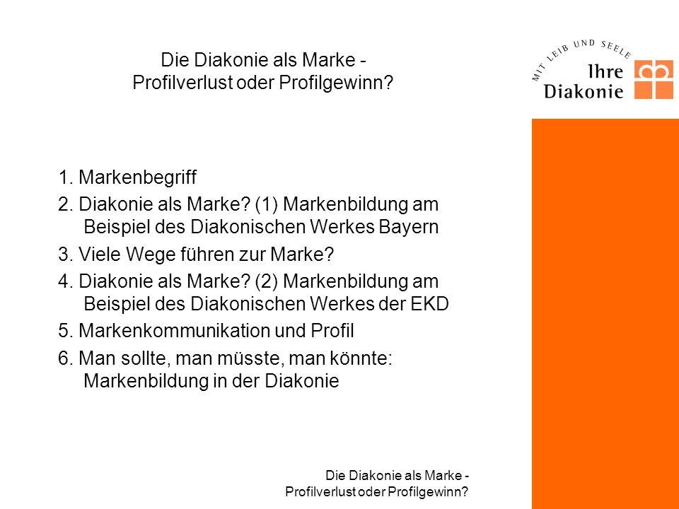 Die Diakonie als Marke - Profilverlust oder Profilgewinn? Daniel Wagner, seit Jan. 2000 Leiter Kommunikation im Diakonischen Werk Bayern Fachbereich m