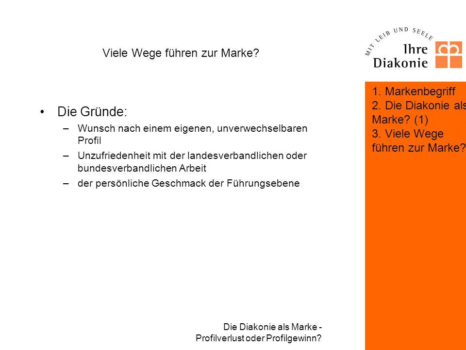 Die Diakonie als Marke - Profilverlust oder Profilgewinn? Viele Wege führen zur Marke? 1. Markenbegriff 2. Die Diakonie als Marke? (1) 3. Viele Wege f