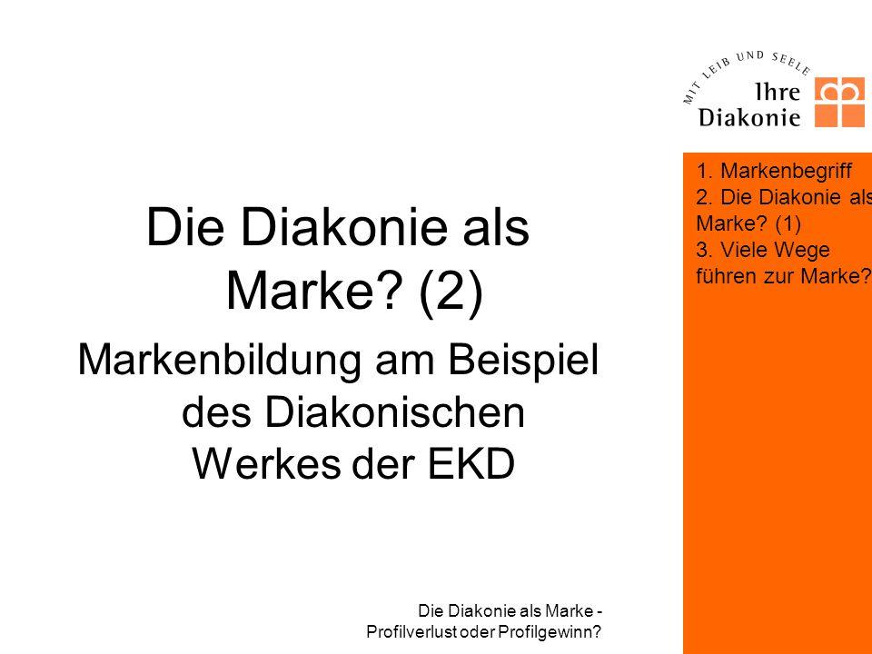 Die Diakonie als Marke - Profilverlust oder Profilgewinn? Viele Wege führen zur Marke? Die Konsequenzen 2: –Eine geschwächte Marke verliert an Einflus