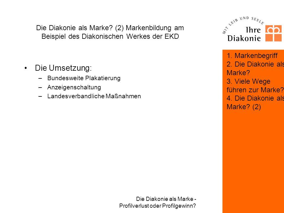 Die Diakonie als Marke - Profilverlust oder Profilgewinn? Die Diakonie als Marke? (2) Markenbildung am Beispiel des Diakonischen Werkes der EKD Zufluc