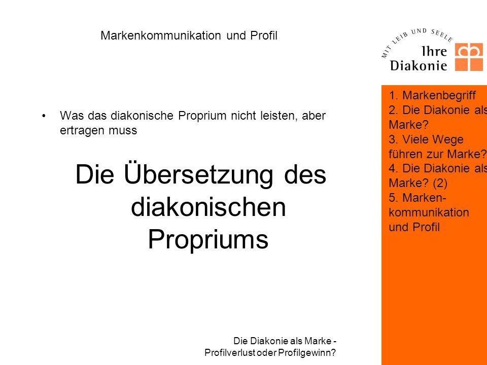 Die Diakonie als Marke - Profilverlust oder Profilgewinn? Markenkommunikation und Profil Was Markenkommunikation in diesem Kontext leisten muss: Die K