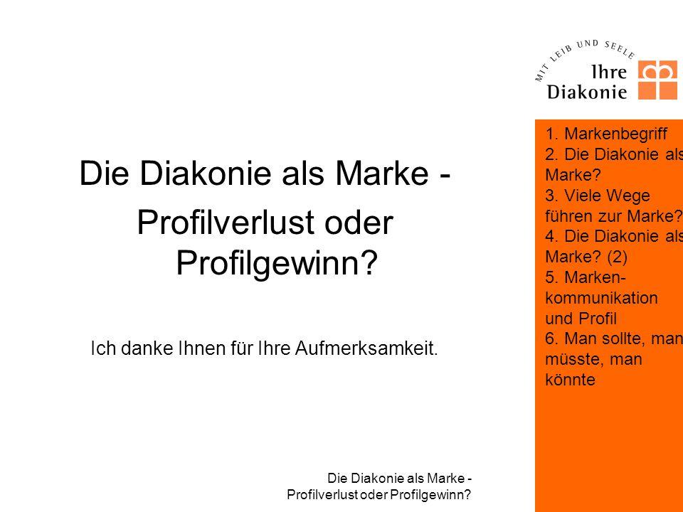 Die Diakonie als Marke - Profilverlust oder Profilgewinn? Man sollte, man müsste, man könnte: Markenbildung in der Diakonie Operationale Herausforderu